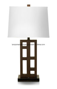 Power Outlet Woodeng Table Lamp with USB and UL pictures & photos