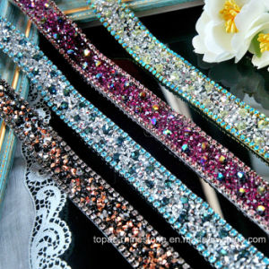 Glass Crystal Applique Tape Hotfix Rhinestone Chain for Clothing (TS-052) pictures & photos