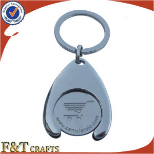 Supermarket Shopping Euro Size Metal Trolley Coin with Keyring (FTTR0102A) pictures & photos