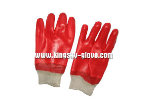 Interlock Liner Knit Wrist Red PVC Work Glove PVC Supported Glove (5118) pictures & photos
