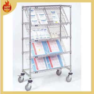 4 Tiers Chrome Steel Wire Mesh Cart with Wheels pictures & photos