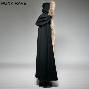 Y-673 Punk Rave New Design Deep Winter Gothic Excellent Wool Collar Overbearing Long Cloak pictures & photos