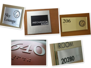 Metal Plastic Aluminum Engraved Etched Ada Braille Door Room Number Sign pictures & photos