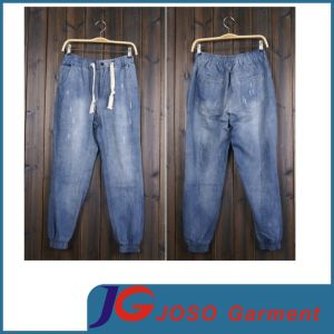 Big Mens Jeans Ankle Elastic Waisted Belt Jeans (JC3393) pictures & photos