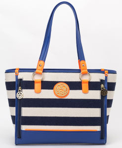Decent & Simple Striped Canvas Designer Lady Handbags