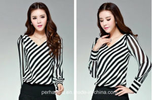 Chiffon Long Sleeve Sexy Ladies Print Shirt pictures & photos