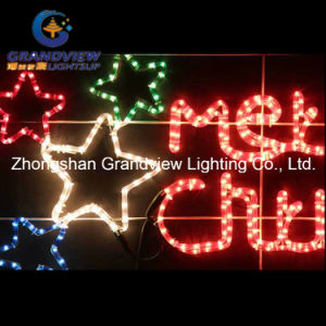 Animated 124cm Red ′merry Christmas′ and Stars Motif Rope Lights pictures & photos