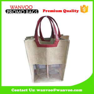 Recycle Jute Wine Bottle Tote Bag - Double pictures & photos