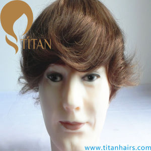 Mono Silk Base PU Around Remy Human Hair Men′s Toupee pictures & photos
