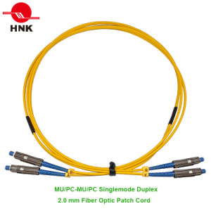 Mu/PC-Mu/PC Duplex Singlemode 2.0mm Fiber Optic Patch Cord pictures & photos