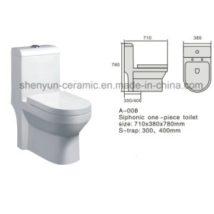 Ceramic One-Piece Toilet Color Toilet Siphonic Flushing S-Trap (A-008) pictures & photos