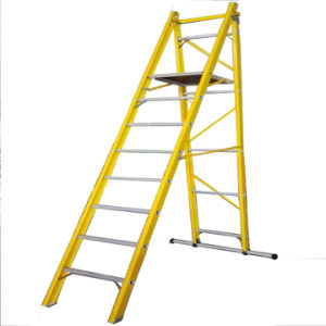 35kv 2m Yellow Fiberglass Folding Platform Ladder with Casters pictures & photos