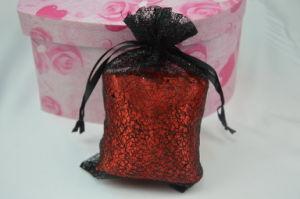 Black Grow Metallic Net Drawstrin Bag for Gift Packaging
