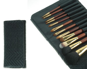 12 Pieces Cosmetic Brush Luxury Rosewood Handle Animal Hair Makeup Brush pictures & photos