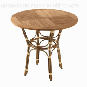 Commercial Outdoor Wooden Top Wicker Base Cafe Table (SP-AT222) pictures & photos