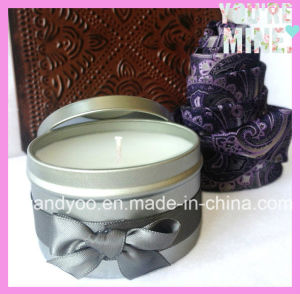 Fashionable Handmade Natural Soy Tin Candle with Ribbons