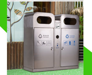Public Garden Outdoor Stainless Steel Trash Can (HW-80) pictures & photos