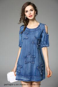 New Design Ladies Drop Shoulder Sleeve Dress with Custom Logo pictures & photos