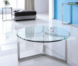 Modern Round Clear Glass Top 80mm Stainless Steel Coffee Table pictures & photos