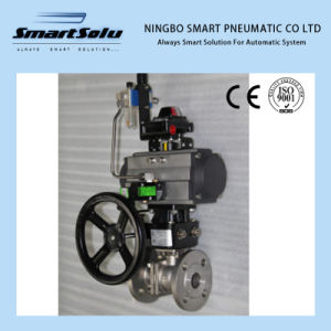 Ss316 Pneumatic Ball Valve with Limited Switch Hand Wheel pictures & photos