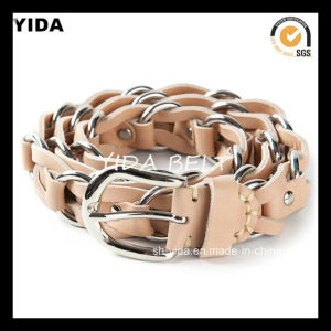 Handmade Woven Children PU Belt with Matel Link Chain (YD-15034)