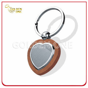 Creative Wooden Keyring with Blank Broshed Finish Metal pictures & photos