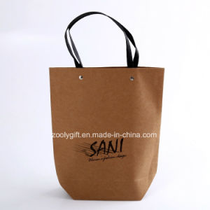 Custom Logo Printing Quality Recycled Brown Kraft Paper Carrier Bags pictures & photos