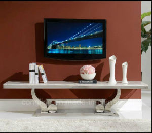 Fashion White Marble TV Stand with Stainless Steel CT8035