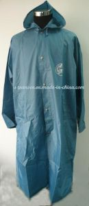 Blue PVC 100% Waterproof Raincoat with Hood and Logo pictures & photos