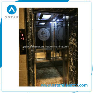 Gloden Luxurious Mirror Etching Passenger Lift for Commercial Building pictures & photos