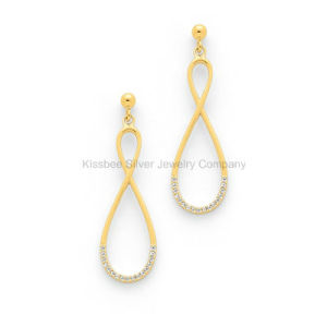 Cubic Zirconia 925 Silver Infinity Jewelry Gold Plated Earring for Women (KE3029) pictures & photos