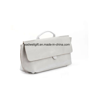 off White Leather Purse Evening Clutch Top Handle Handbag pictures & photos