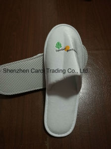 High Quality Fiber Velvet 3 Color Printing Logo Hotel Slipper pictures & photos