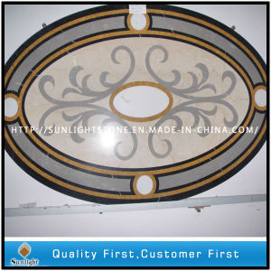 Cream Marfil/Golden Marble Water Jet Medallion for Floor pictures & photos