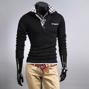Hot Sale Black Fashion Cotton Polo Men T-Shirt pictures & photos