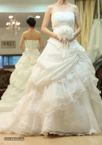 Wholesale A Line Champagne Train Wedding Dress