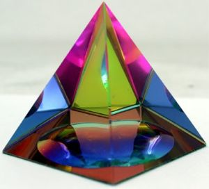 Rainbow Colors Pyramid Crystal Glass Paperweight for Decoration pictures & photos