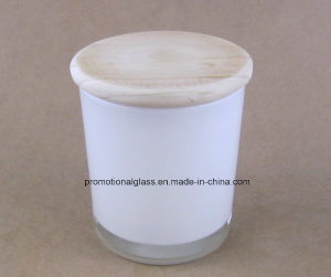 Cylinder Shaped White Glass Candle Jar with Wooden Lid pictures & photos