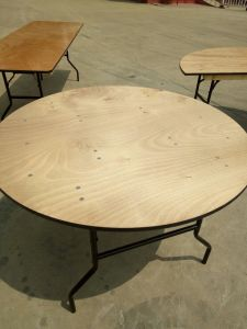 36′′ Round Wood Folding Table with Vinyl Edge pictures & photos