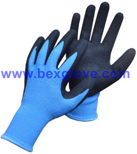 13 Gauge Acrylic/Polyester, Nitrile Coating, Sandy Finish Work Glove pictures & photos