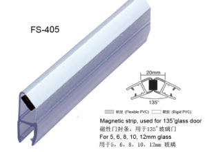 135 degree white magnetic seal for shower glass door