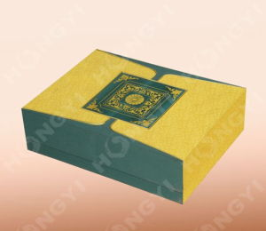 Yellow/Green Cardboard Art Paper Gift Box for Perfume Packaging (HYJ021)