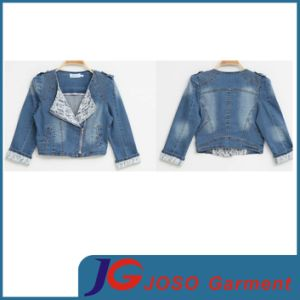 Lace Cuff Long Sleeve Zipper Closering Girl Denim Jacket (JC4076) pictures & photos