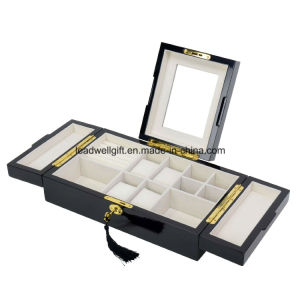 Executive High Gloss Black Wood Finsh Valet Watch & Cufflink Jewelry Box & Organizer Storage Case with Lock and Key pictures & photos