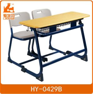 Double Plastic Study Tables and Chairs of School Furniture pictures & photos