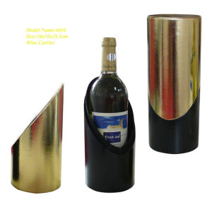 Center-Opening Round 1 Bottle Leather Wine Carrier (4656) pictures & photos