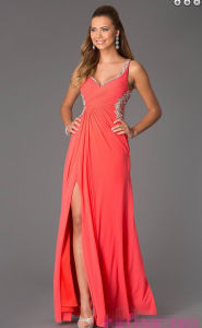 Sleeveless V-Neck Floor Length Evening Prom Dresses (ED14020) pictures & photos