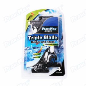 Triple Blade Disposable Razor with White Color pictures & photos