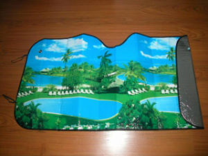 Auto Front Sunshade with One Side Coated and Another Side Heat Transfer Printing pictures & photos