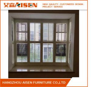Window Decoration Front View Tilt Rod White PVC Plantation Shutters pictures & photos